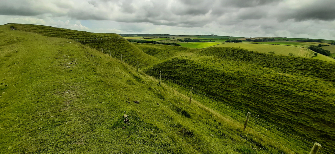 photo of the hillfort at Maiden Cast;le in Dorset